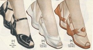 "Women's 1950's Shoes History -  Wedges naturally retain the chunky sturdy shape and give a nice lift to the heel (sexy!) Toe openings were bigger in the 1950s and wedge heels a bit taller and curved inward for a slightly more delicate look. They were and still are a style that screams ""vintage"" or ""retro"" shoes!"