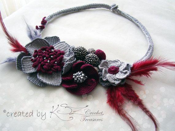 Elegant crochet necklace Stylish choker by KSZCrochetTreasures