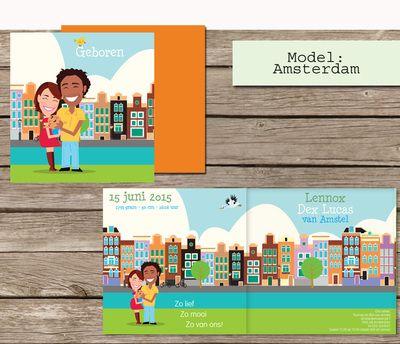 Geboortekaartjes op maat, een cartoon van jullie gezin. Model Amsterdam  #grachten #bakfiets #fietsen #gracht #grachtenpand #grachtenpandjes #canalhouse #canal #birth announcement #cartoon #illustratie # persoonlijk #huisjes #alkmaar #delft #nagetekend #tekening in #opdracht