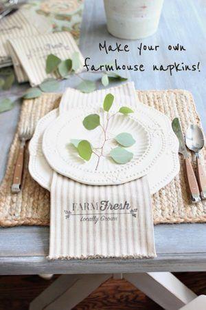 Farmhouse Farm Fresh Napkins DIY - Make your own farmhouse napkins