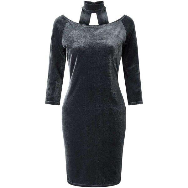 Miss Selfridge Grey Velvet Choker Dress ($53) ❤ liked on Polyvore featuring dresses, grey, short bodycon dresses, long sleeve bodycon dress, short party dresses, long sleeve dress and bodycon dress