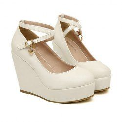 $14.45 Stylish Women's Wedge Shoes With Cross Straps and Pendant Design