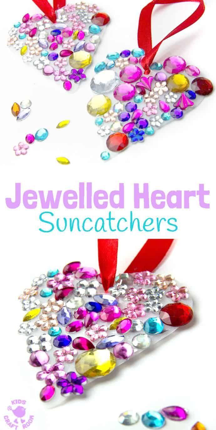 Jewelled Heart Suncatchers Simple Kids Craft Ideas Pinterest