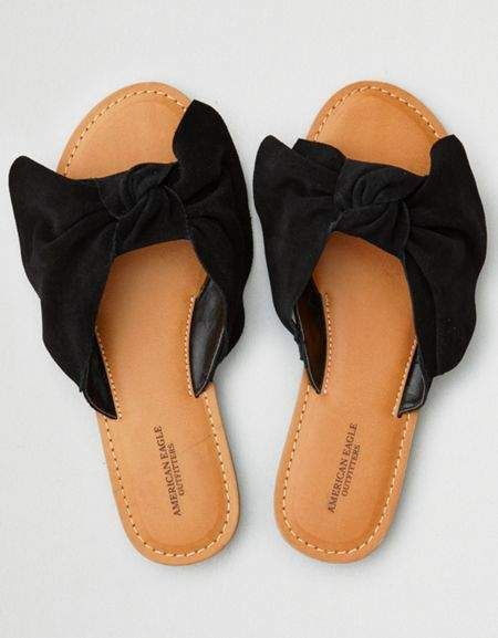a554adae4 American Eagle Outfitters AE Oversized Bow Slide Sandal | Black ...