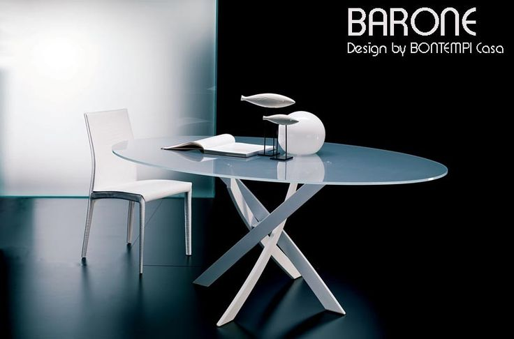 Table ovale barone acier et verre version ovale design for Table ovale verre extensible