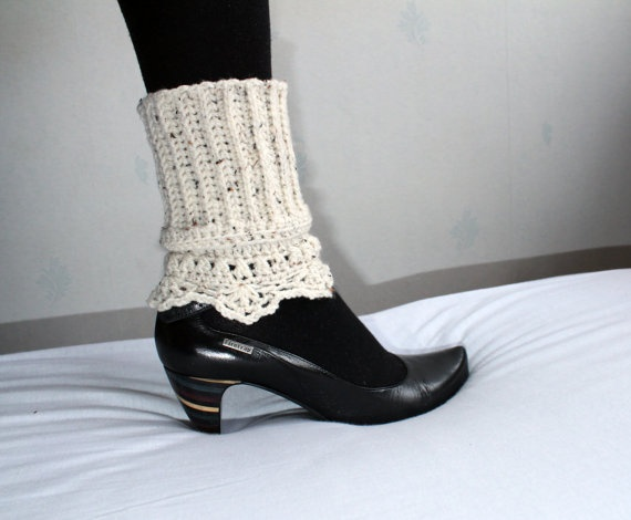 Inspiration! Refashion from sweater with lace - DLGH crochet boot cuffs