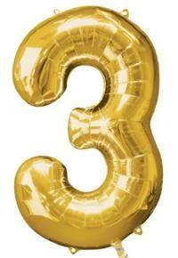 3 Sayısı Altın, Supershape Folyo Balon Rakam Folyo Balon, Uçan balon, balon buketi için www.partipaketi.com