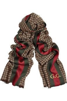 Guccifine-knit silk and wool-blend scarf