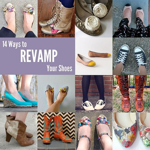 Great idea for revamping shoes.  Check out http://www.starsforstreetlights.com/2012/01/14-ways-to-revamp-your-shoes.html