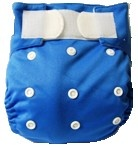 Happy Babes BLUE One Size Nappy is a Modern Cloth Nappy (MCN) that can be worn from birth to toilet training. The One Size Nappy has plastic snaps on the front of the nappy allowing the rise of the nappy to be adjusted as your baby grows from birth to toilet training. Pocket Nappies consist of a waterproof outer which is usually a polyurethane laminated polyester and a cotton micofibre lining that is extremely soft against the baby's skin.