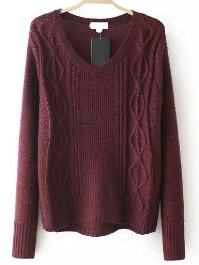 V Neck Cable Knit Burgundy Sweater