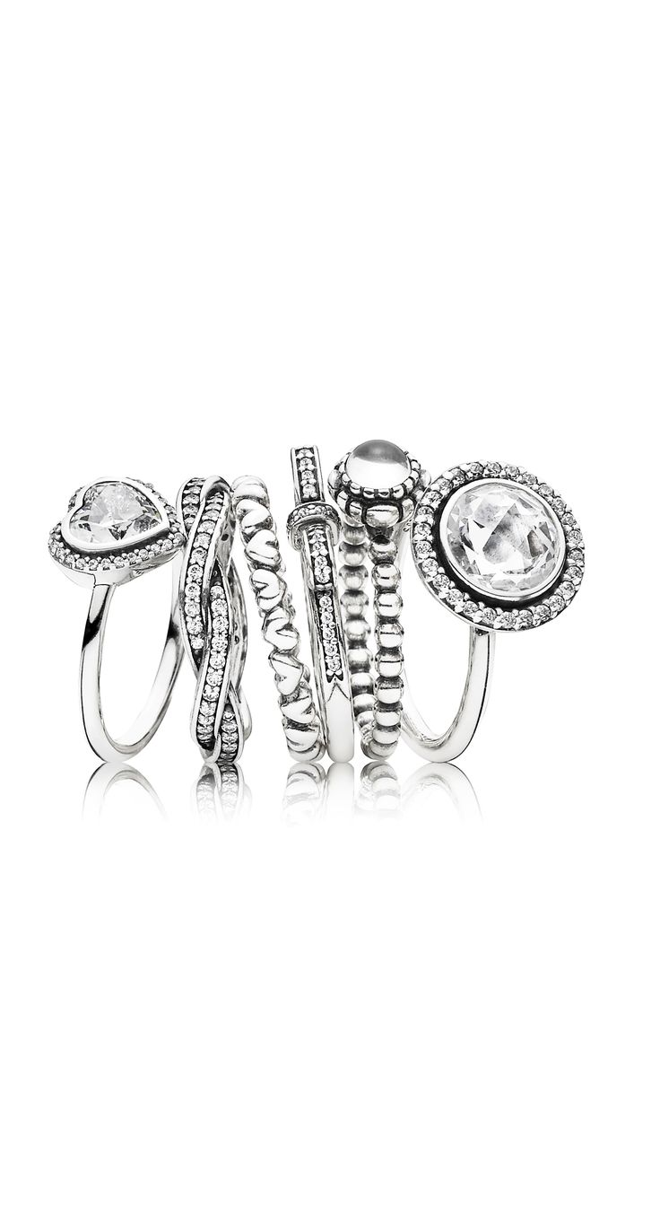Create a cute and glamorous ring stack with PANDORA rings in sterling silver embellished with sparkling stones. #PANDORAring