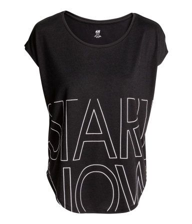 Sports top in fast-drying, functional fabric with short sleeves and a rounded hem. Loose fit.   H&M Sport