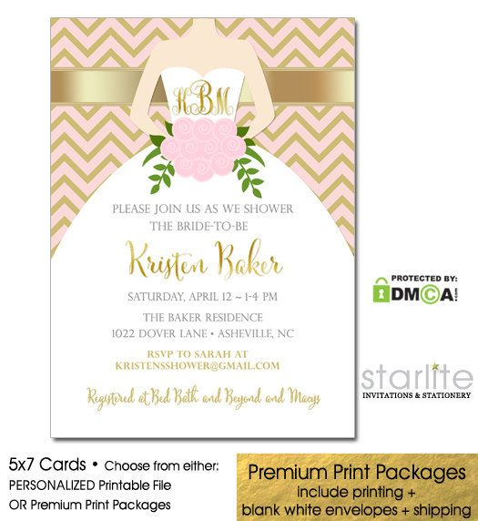Lovely Pink + Gold Monogram Bridal Shower Invitation  This Listing is for a Customized / Personalized Invitation Design - CHOICE OF Personalized