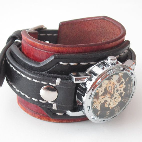 Mens steampunk leather watch Black leather cuff by loversbracelets