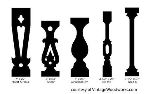 sawn railings graphic from Vintage Woodworks