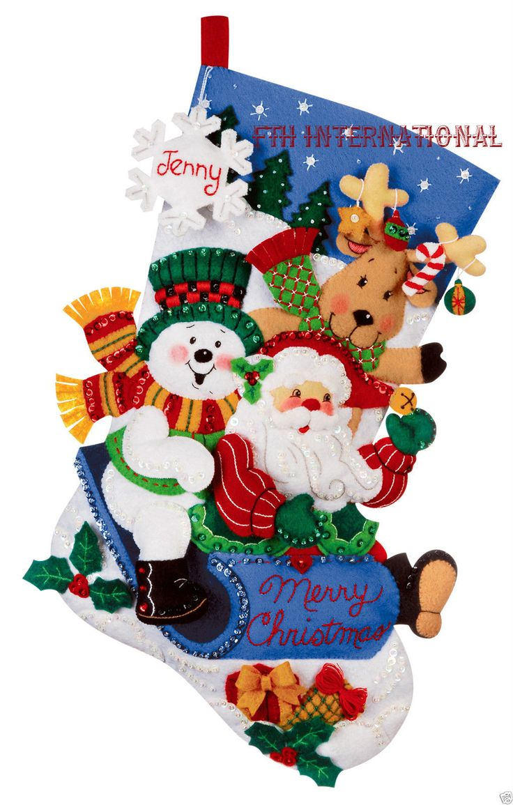 "Bucilla Sledding Friends~ 18"" Felt Christmas Stocking Kit #86020 Santa, Frosty"