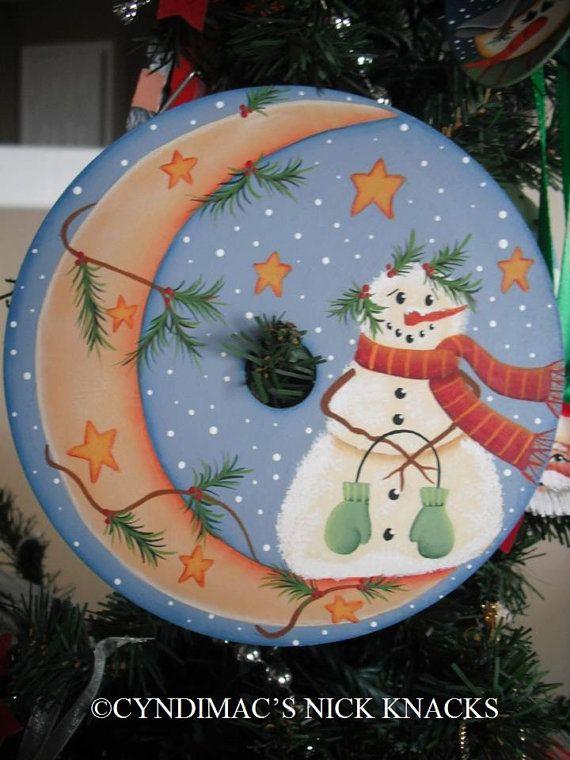 Snowman & the Crescent Moon CD Ornament