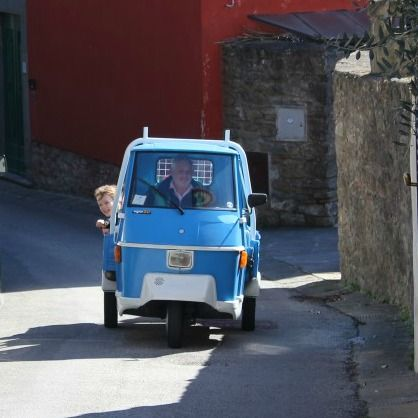 Guess who got to zip around the village in a Piaggio L'ape? They are my favourite little trucks in Italy and I was so excited to see the kids in the back of one.