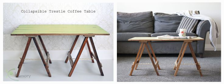 Collapsible Trestle Coffee Table.  Made from reclaimed Rimu (native to NZ). Tabletop is tongue and groove, distressed pale green with bright blue undertones and finished in a clear lacquer. The legs have been stripped of paint and finished in Danish Oil. For more details see www.facebook.com/kcimory