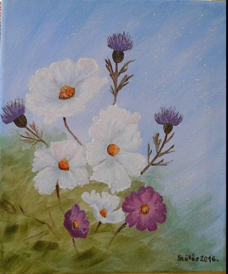 Created by: Kovácsné Szöllős Éva - Flowers acrylic, 24x30 cm canvas.
