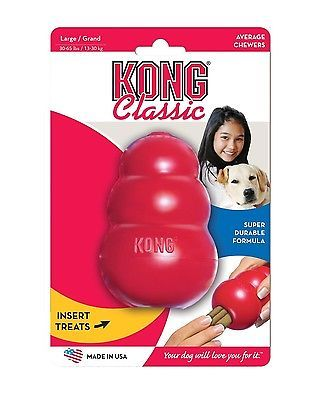 Kong CLASSIC RED Original Rubber Best  Dog Chew Puppy Treat Fetch Toy~Large