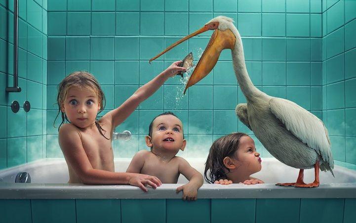 Father Photoshops Three Daughters into Fantastical Scenes - My Modern Met (John Wilhelm--artist)