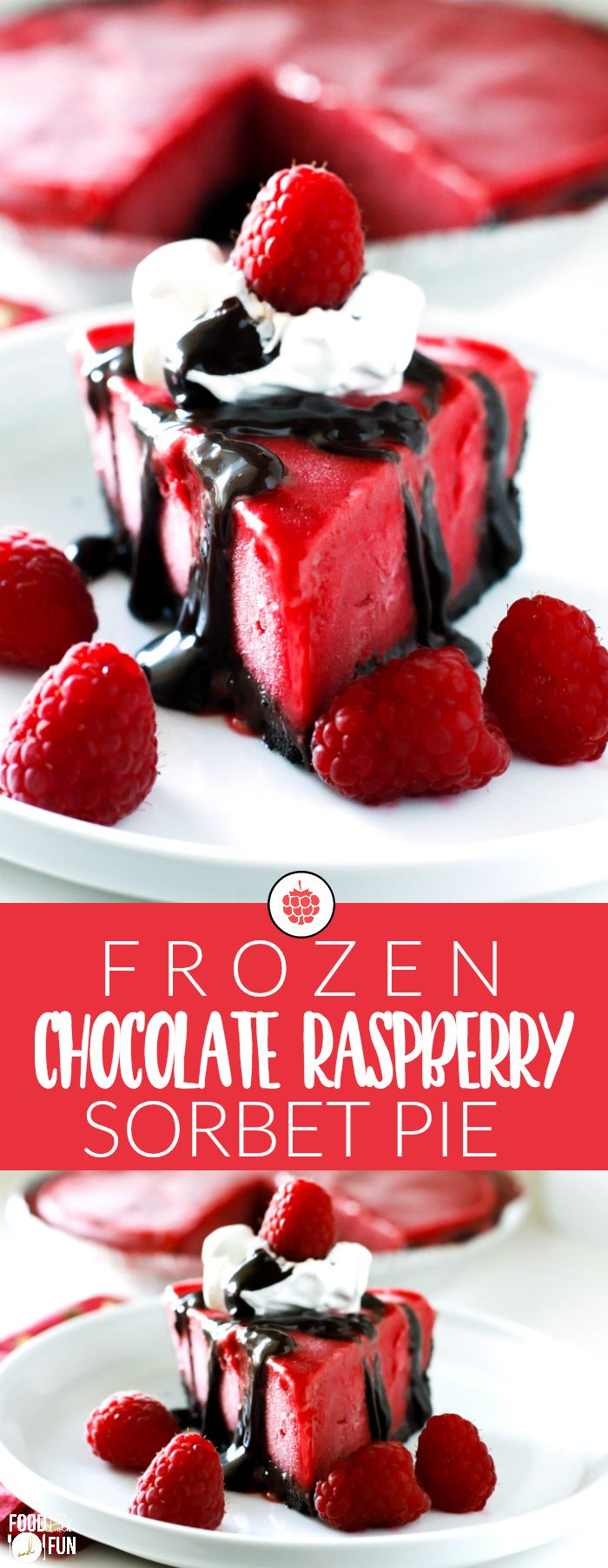 Oreo cookie crust, rich hot fudge, and luscious raspberry sorbet pair perfectly to make this Frozen Chocolate Raspberry Pie truly divine! | Raspberry Dessert | Summer Recipe | Summer Dessert | Easy Dessert | Frozen Dessert