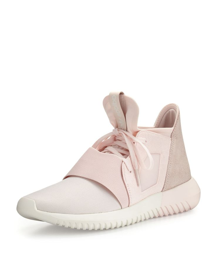 Tubular Defiant Jersey & Suede Trainer, Halo Pink - adidas