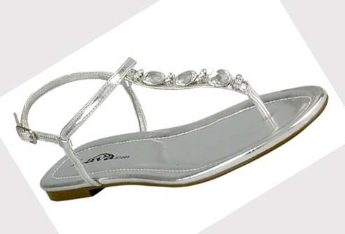 formal flat silver sandals for wedding | Flat prom shoes: