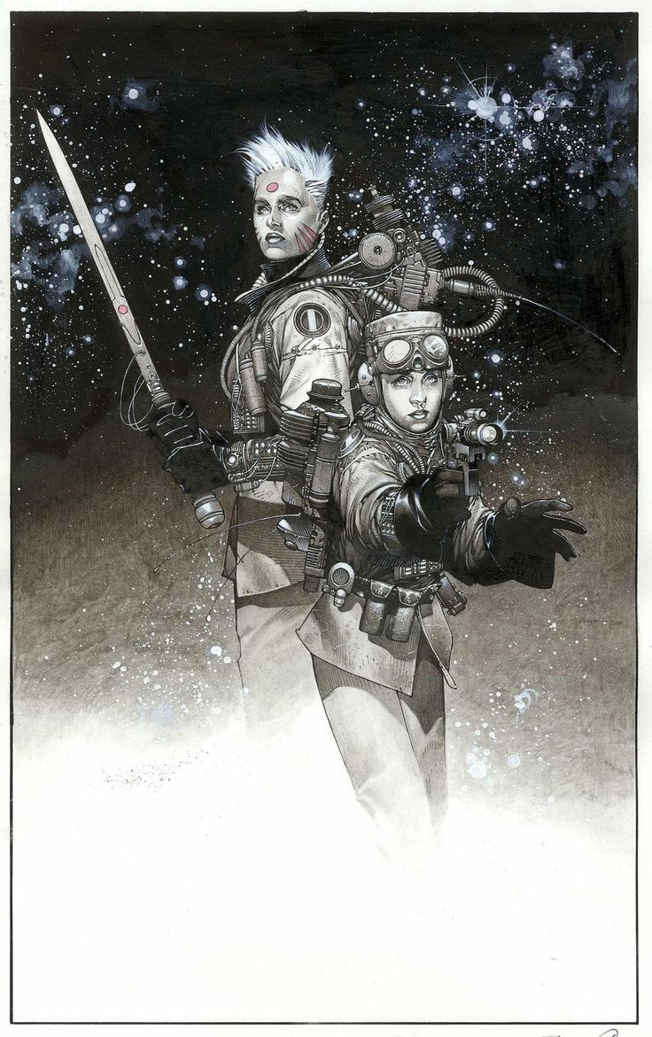 Sci-Fi Post Apoc kit inspiration  Travis Charest   More Travis Charest  @ http://groups.yahoo.com/group/ComicsStrips & http://groups.google.com/group/ComicsStrips   http://travischarestspacegirl.blogspot.com  http://www.travischarestgallery.com