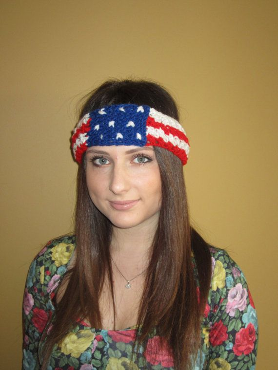 Patriotic Headband 4th of july Red White Blue by KnitSew4U on Etsy