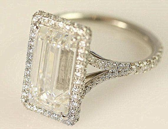GIA certified - 5 carat - Emerald Cut Diamond engagement ring - solid Platinum- Luxury - engagement - bride - weddings