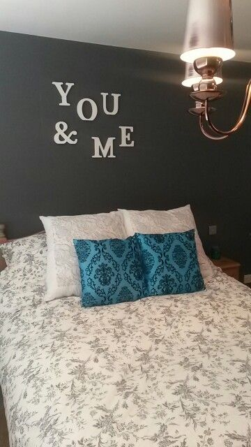 Idea stolen from Pinterest and then re uploaded to Pinterest! Master bedroom grey and turquoise.