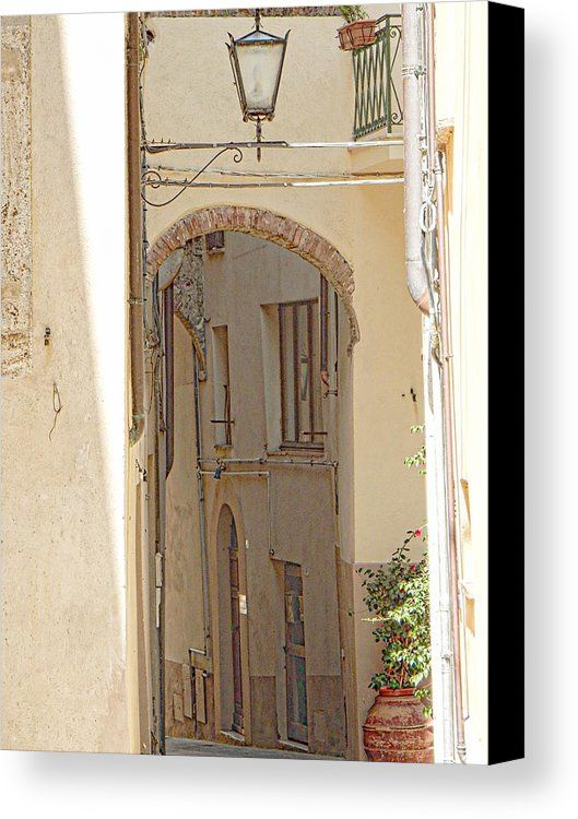 Hidden Alleyway Canvas Print featuring the photograph Hidden Alleyway Cetona by Dorothy Berry-Lound #cetona #tuscany #italy