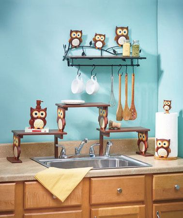 Owl Kitchen shelf, paper towel holder and more Pinned by www.myowlbarn.com