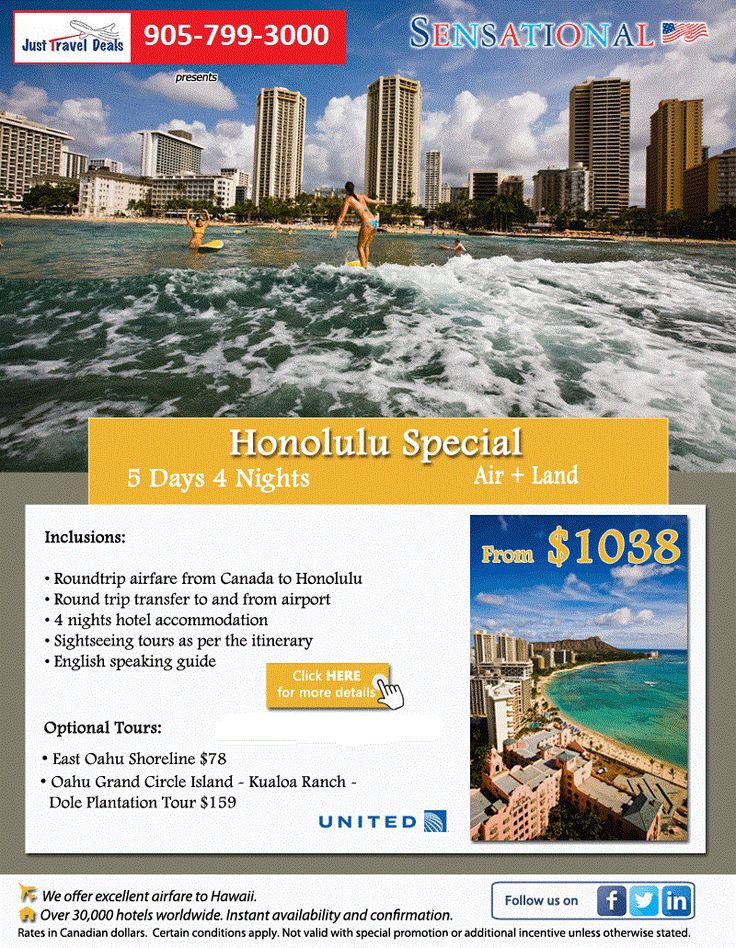 Honolulu Vacation Special 5 Days 4 Nights