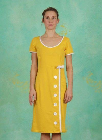 Lien & Giel Joan yellow dress 1960s look vintage only available in size xs and s. Kleid gelb jurk geel jaren 60 stijl
