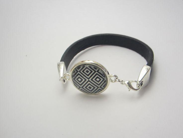 Bracelet cabochon moderne avec motif géométrique : Bracelet par mogs-creations