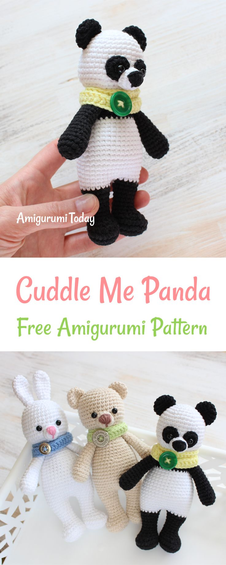 Give a hearty welcome to this little crochet Panda from the Cuddle Me toy family! Just like in the wild, it's a little clumsy and curious about new things. It is awaiting the opportunity to play and cuddle with your kid and guard him or her at night. The Cuddle Me Panda Amigurumi Pattern will make a wonderful gift for all panda lovers!