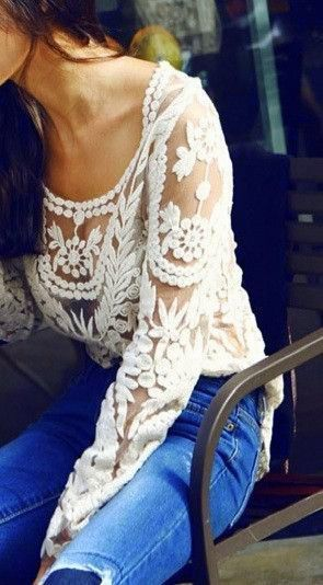 White Lace Top. With the fur vest & seven for all mankind jeans