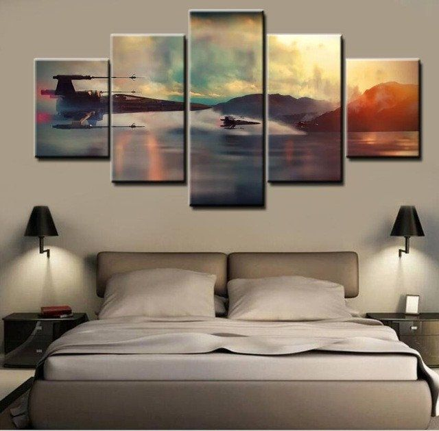 Star Wars X-Wing Rogue One, 5 Panel Framed Canvas Wall Art