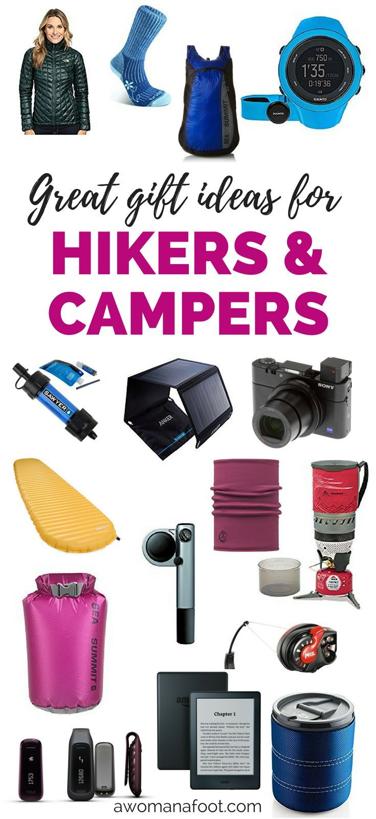 Great Gift Ideas for Hikers & Campers - perfect for every outdoorsy traveler!   #hiking #gear   #camping   #outdoors   hiking gadgets   #giftideas   Valentine's   #Christmas   Mother's Day   Father's Day   #Birthday   stuffers   #giftguide   back to school   awomanafoot.com