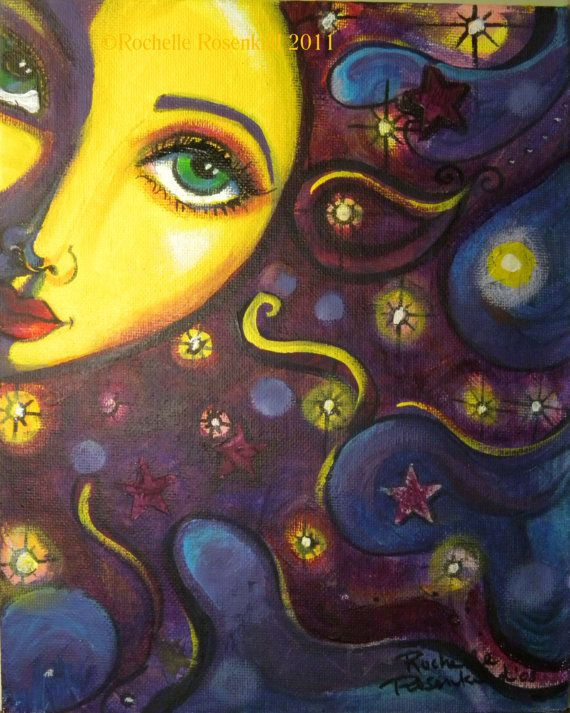 Sun face painting Celestial goddess art Original 8 x 10 whimsical decor CaaT via Etsy