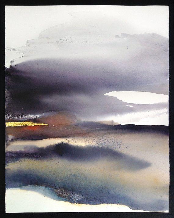 Abstract landschap, hedendaagse kunst, Abstract aquarel - origineel schilderij, Minimal Art / Modern / grote landschap schilderen