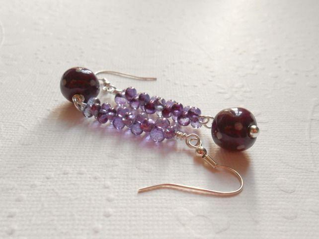 purple polka dot earrings £14.00