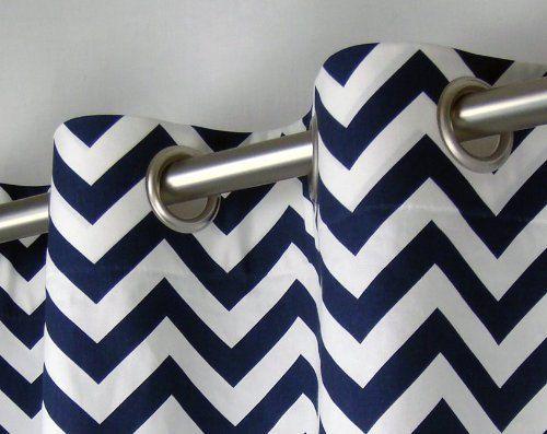 Curtains Navy Or Grey Chevron Zig Zag 2 Drapes By