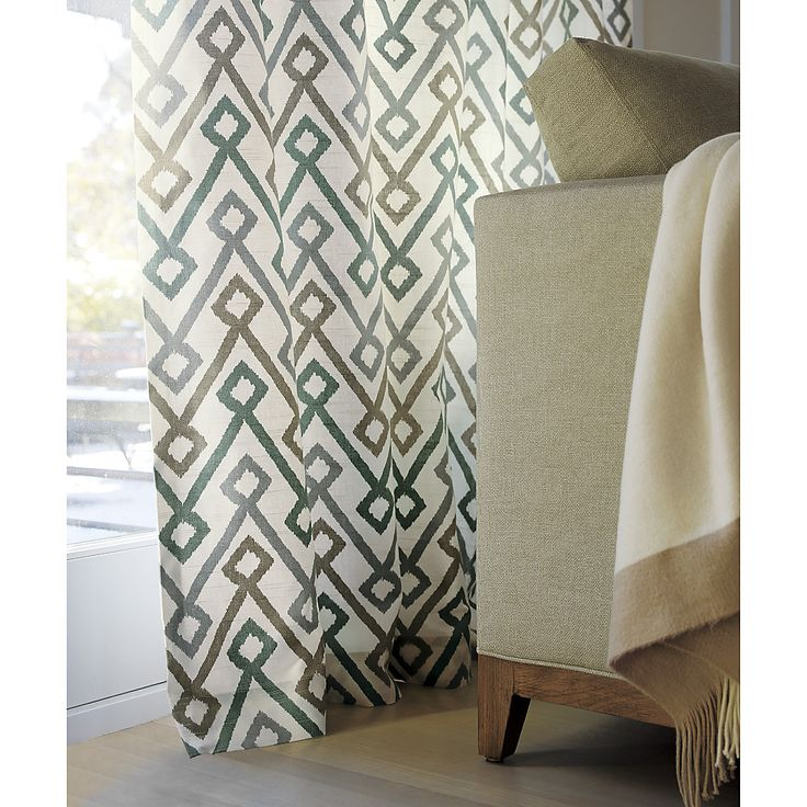 "Shop Maddox Khaki/Grey Curtains.  Tribal geometry scales up to a contemporary graphic in a neutral palette of khaki, grey and teal.  Pattern is printed on slubby, textured cotton for added interest.  Lined curtain has a 3"" rod pocket and a generous 3"" hem."