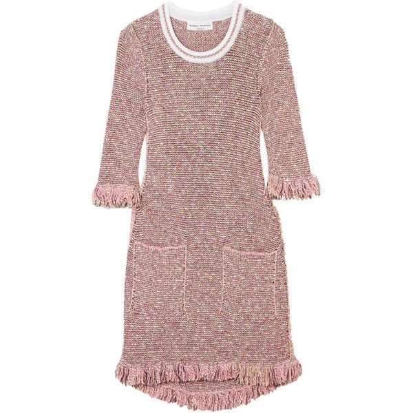 Sonia Rykiel Sequin-embellished cotton-blend tweed mini dress ($840) ❤ liked on Polyvore featuring dresses, pink, pink dress, short pink dress, multi colored sequin dress, multi coloured dress and short dresses