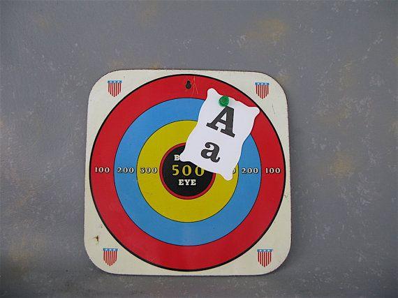 My Vesties Wish List item - Vintage Metal Target Game Bullseye Airplane lithograph by PassedBy